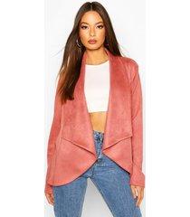 waterfall suedette jacket, rose