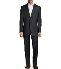 textured solid wool suit