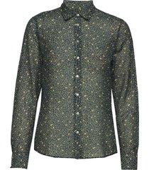 d2. lemonade cotton silk shirt blus långärmad blå gant