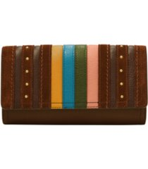 fossil women's logan stripe leather flap clutch wallet