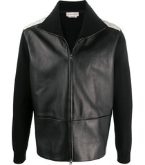 alexander mcqueen contrasting shoulders zipped jacket - black