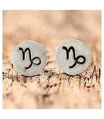 sterling silver stud earrings, 'satin capricorn' (thailand)