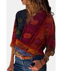 camicetta manica lunga patchwork colore contrasto stampa vintage per donna