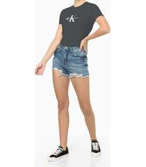 blusa feminina estampa ck chumbo calvin klein jeans - pp