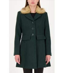 kate spade new york faux-fur trim walker coat, created for macy's
