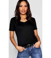 basic super soft v neck t-shirt, black
