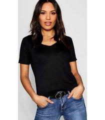 basic super soft v neck t-shirt, black