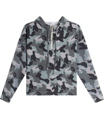 buzo hoodie camuflado color gris, talla 10