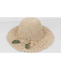 beach flower scalloped crochet straw hat