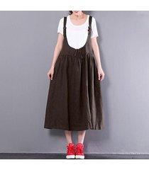 zanzea mujeres sin mangas de una línea de la liga del vestido de la falda del patinador correas tops -marrón