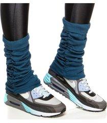 meias performance mulher elastica polaina fitness ribana - azul petróleo - u azul