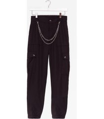 womens chain the subject cargo pants - black