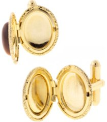 1928 jewelry 14k gold plated tiger's eye oval locket cufflinks