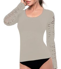 camiseta control anette vainilla/blanco tall