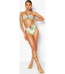 abstract floral buckle bandeau high waist bikini