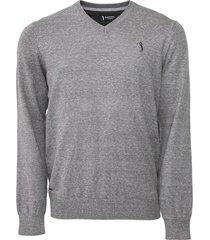 suéter aleatory tricot liso cinza - kanui
