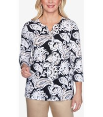 alfred dunner three quarter sleeve paisley floral print knit top with braided neckline
