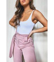 broek met hoge brede taille, blush