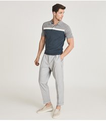 reiss cairns - colour block polo shirt in argento, mens, size xxl