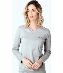 blusa térmica feminina segunda pele thermo premium original regular fit gola v - cor cinza