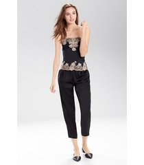 lolita bustier pajamas, women's, black, 100% silk, size xs, josie natori