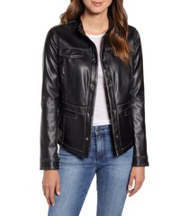 women's sam edelman faux leather shirt jacket, size large - black