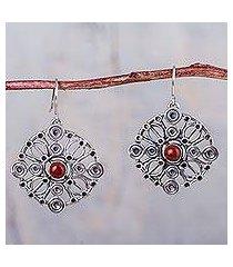 jasper dangle earrings, 'crop circles' (peru)