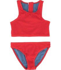 duskii girl yara zip bikini set - red