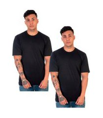 kit 2 camiseta lucas lunny t shirt gola redonda preta
