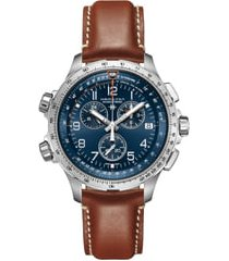 men's hamilton khaki aviation x-wind chronograph gmt leather strap watch, 46mm