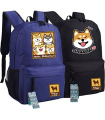 cutie dog shiba inu big smile face canvas backpack canvas school bag xmas gift 4