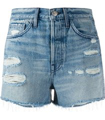 3x1 ripped detail frayed edge shorts - blue