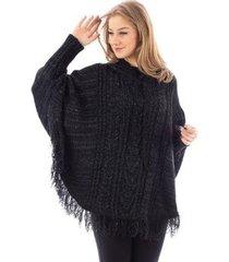 poncho de tricô com franja e capuz sumaré 31175