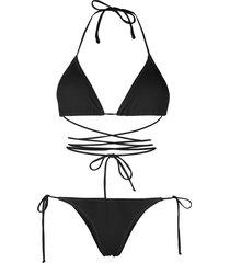 reina olga wrap-design bikini with metallic stitching - black