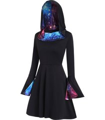 galaxy flare sleeves hooded high low dress