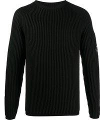 c.p. company ribbed logo-patch sweatshirt - black