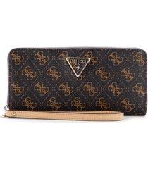 guess noelle large logo zip around wallet wristlet