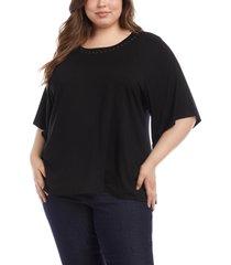 plus size women's karen kane studded elbow sleeve top, size 1x - black