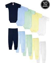 kit 10pçs body culote zupt baby meninol azul-marinho