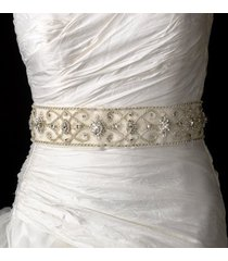 stunning vintage swarovski crystal beaded wedding bridal sash belt - ivory