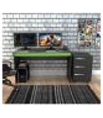 kit gamer b29 com mesa e gaveteiro - preto/verde