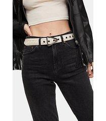 ecru quilted belt - white