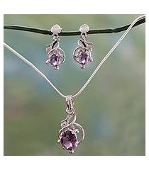 amethyst jewelry set, 'wisteria' (india)