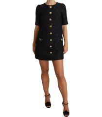 button embellished jacquard mini dress