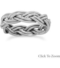 double row braided band sterling silver ring