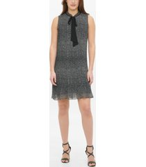 dkny s/l tie neck pleated shift