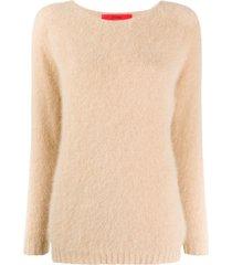 roberto collina boat neck textured sweater - neutrals