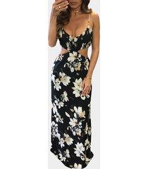 maxi cintura recortada con estampado floral al azar vestido