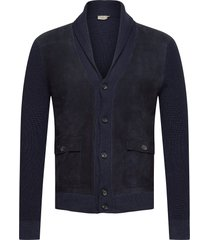 myf suede frt shawl stickad tröja cardigan blå hackett london