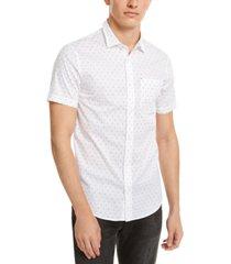 ax armani exchange men's slim-fit stretch ditsy logo-print shirt